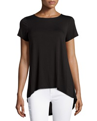 Neiman Marcus Contrast Back High Low Tee Black