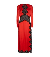Alessandra Rich Satin Lace Panels Long Sleeve Dress Female Red