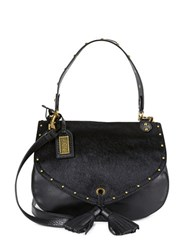 Badgley Mischka Estelle Calf Hair Tassle Accented Crossbody Black