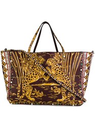 Valentino 'Rockstud Rolling' Tiger Trapeze Tote Brown