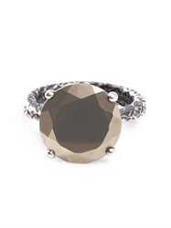 Bottega Veneta Pyrite Stone And Silver Ring