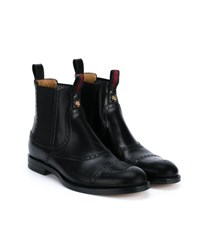 Gucci Leather Brogue Boots Black Red Green