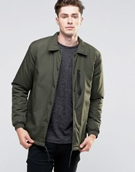 Brave Soul Nylon Button Through Jacket Green