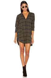 Cp Shades Teton Flannel Button Up Dress Green