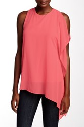 Vince Camuto Sleeveless Chiffon Overlay Asymmetrical Blouse Red