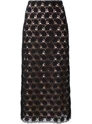 Yigal Azrouel Hibiscus Lace Skirt Black
