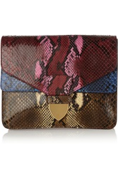 Sophie Hulme Color Block Python Clutch Brown
