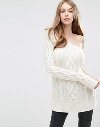 Asos Cable Jumper With One Shoulder Cream