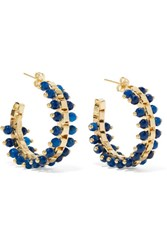 Rosantica Airone Gold Tone Quartz Hoop Earrings Blue