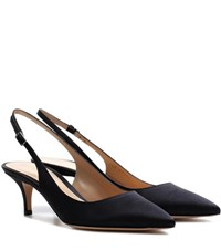 Gianvito Rossi Satin Sling Back Kitten Heel Pumps Black