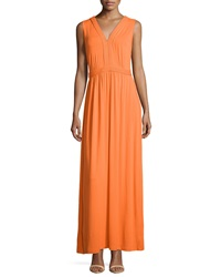 Neiman Marcus Braided Sleeveless Maxi Dress Tangerine