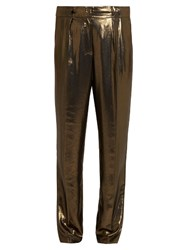 Elizabeth And James Hawke Pleated Straight Leg Lame Trousers Gold