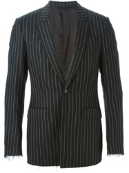 Givenchy Frayed Pinstripe Blazer Black