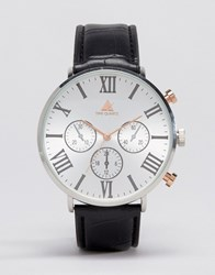 Asos Mixed Metal Watch With Roman Numerals Black