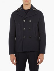 Valentino Navy Studded Wool Peacoat