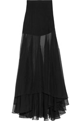 Vionnet Wrap Effect Silk Organza Maxi Skirt Black