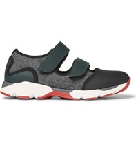 Marni Cutout Neoprene And Felt Panelled Rubber Sneakers Black