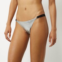 River Island Womens Silver Metallic Strappy Bikini Bottoms