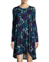 Joan Vass Floral Print Long Sleeve Swing Dress Multi
