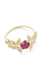Jacquie Aiche Ruby Vintage Leaves Ring Ruby Gold