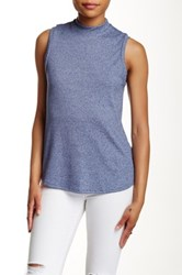 Pink Owl Ribbed Lace Up Tank Blue