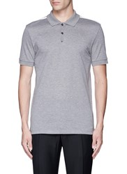 Lanvin Slim Fit Ribbon Shoulder Polo Shirt Grey