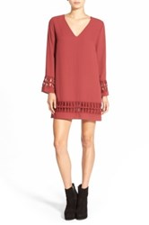 Astr Crochet Shift Dress Red