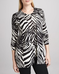 Magaschoni Zebra Print Open Cashmere Cardigan X Large 16