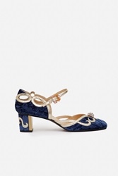 O Jour Loira Platinum Nappa Shoes Blue Night Velvet