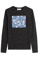 Carven Stretch Cotton Longsleeve T Shirt With Logo Patchwork Multicolor