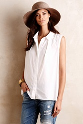 Maeve Sleeveless Poplin Buttondown White