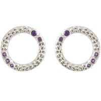 Emily Mortimer Jewellery Wanderlust Amethyst Earrings Silver Pink Purple