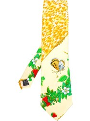 Versace Vintage Strawberry And Butterfly Print Tie Yellow And Orange