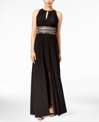 R And M Richards Petite Embellished Gown Black