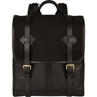 Lotuff Leather Flap Front Backpack Black