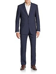 Michael Kors Regular Fit Checked Wool Suit Blue