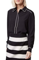 Women's Topshop Contrast Piping Shirt