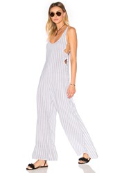 Indah Wanderer Printed Lace Up Side Jumpsuit White