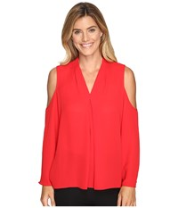 Vince Camuto Long Sleeve Cold Shoulder Invert Pleat V Neck Blouse Fire Glow Women's Blouse Red
