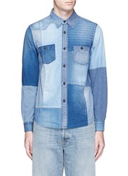 Fdmtl Boro Patchwork Cotton Denim Shirt Blue