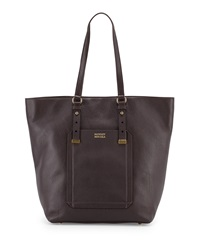 Badgley Mischka Ava Pebbled Leather North South Tote Bag Espresso