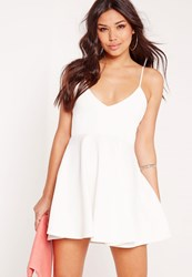 Missguided Strappy Plunge Skater Dress White White