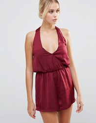 Influence V Neck Open Back Playsuit Red