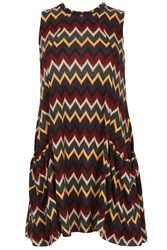 Izabel London Knitted Swing Dress With Chevron Print Red