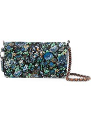 Coach 1941 'Print Dinky' Floral Print Flap Closure Shoulder Bag Blue