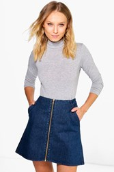 Boohoo Zip Through A Line Denim Mini Skirt Dark Blue
