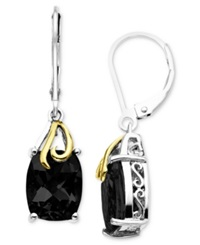 Macy's 14K Gold And Sterling Silver Earrings Onyx