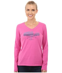 Life Is Good Crusher Vee Long Sleeve Tee Canoe Etching Hot Fuchsia Women's Long Sleeve Pullover Pink