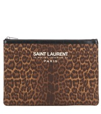 Saint Laurent Leopard Print Clutch Brown
