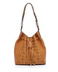 Mcm Gold Tone Stud Visetos Drawstring Shoulder Bag Cognac